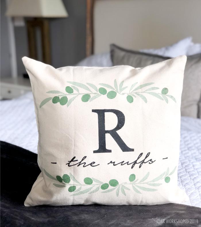 olive branch monogram family name pillow