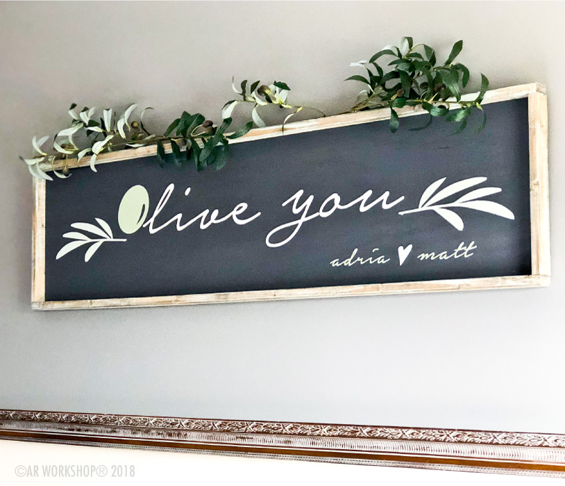 olive you framed over the bed wood sign 50x14