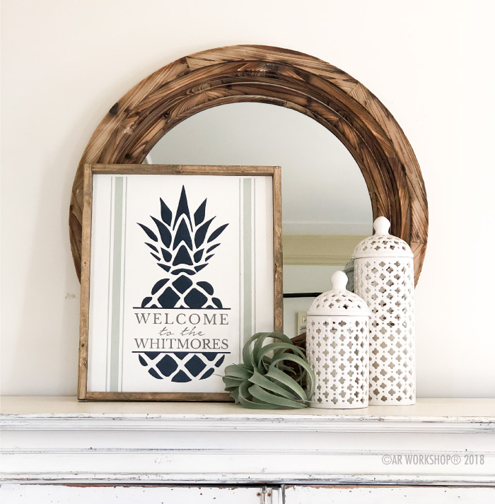 pineapple hospitality framed wood sign 18x21