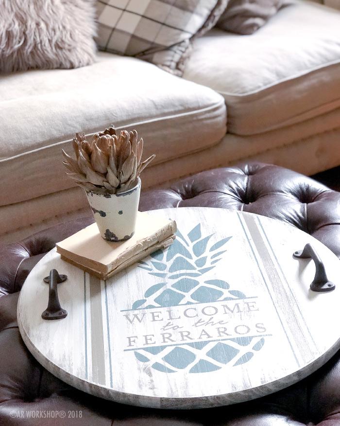 pineapple hospitality oversized lazy susan tray