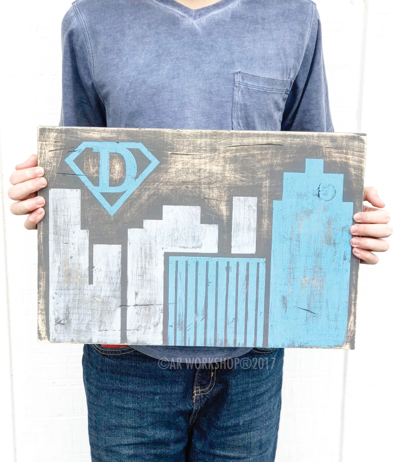 Buildings Super Hero Emblem Youth Plank Sign 12x16