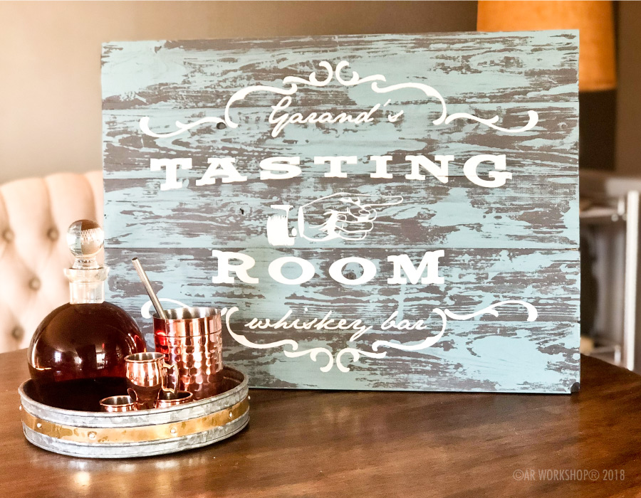 tasting room whiskey bar plank sign 17.5x24