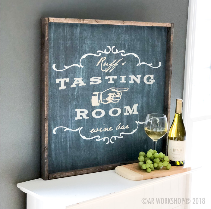 tasting room wine bar oversized framed sign 26x26