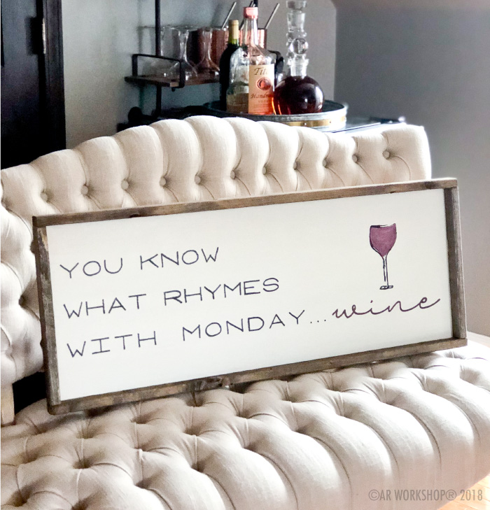 you know what rhymes with monday wine framed sign 14x34