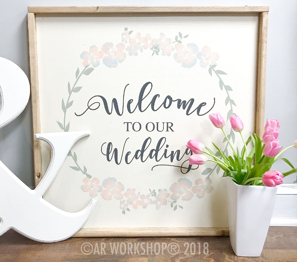 floral wreath welcome to our wedding framed sign 26x26
