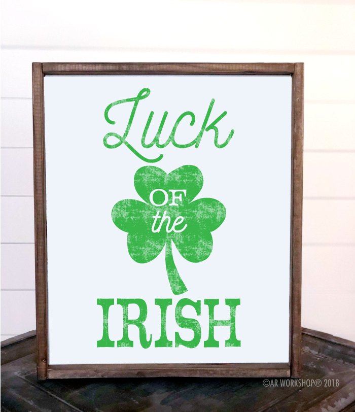 luck of the irish framed sign 18x21