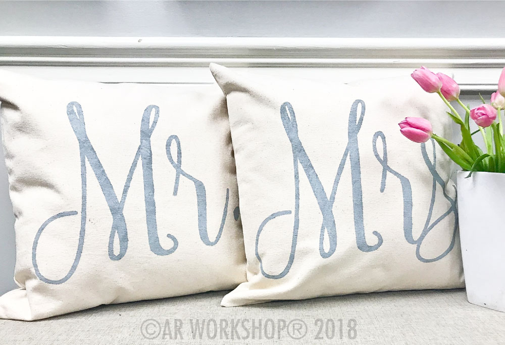 Mr. Pillow Cover or Mrs. Pillow Cover canvas