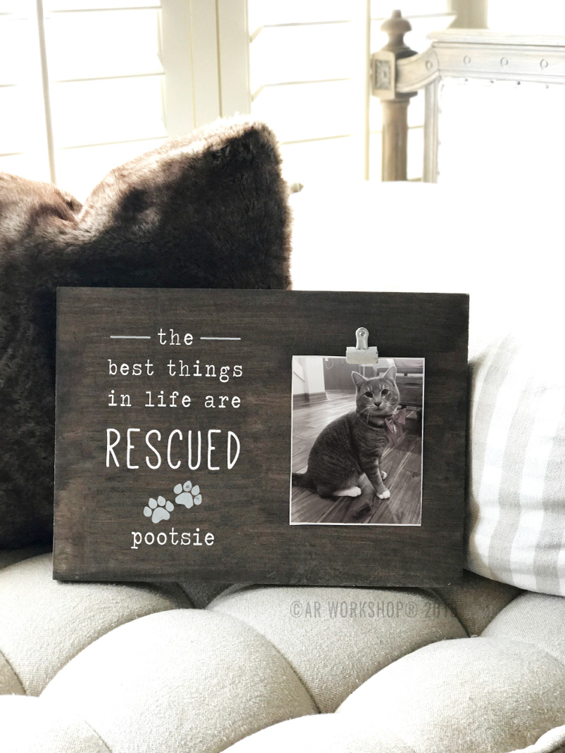 Rescue Cat Wood Photo Frame