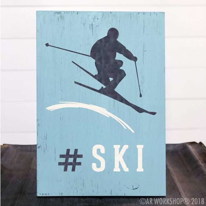 ski skier youth plank sign 12x16