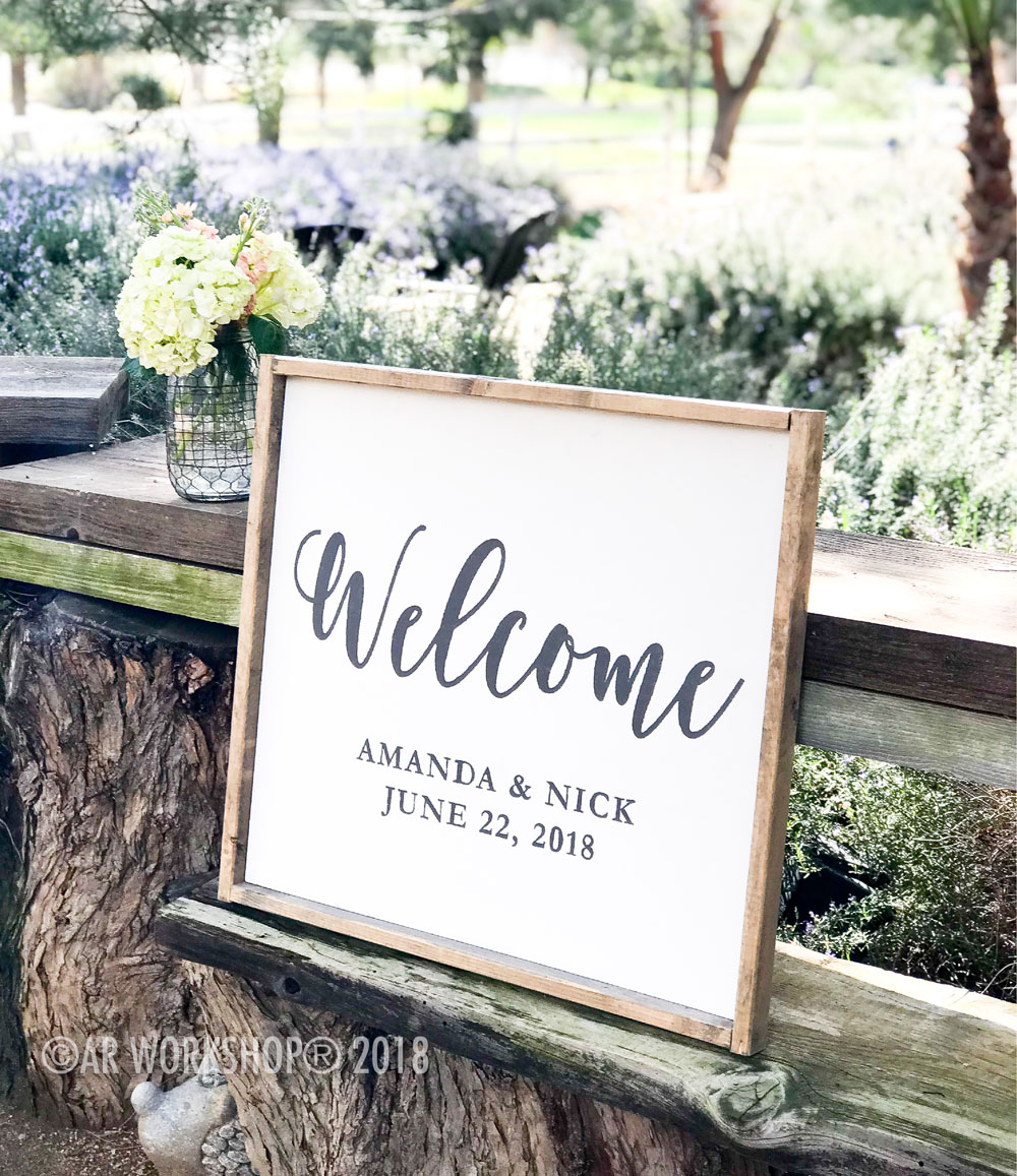 Wedding welcome date framed sign 18x21