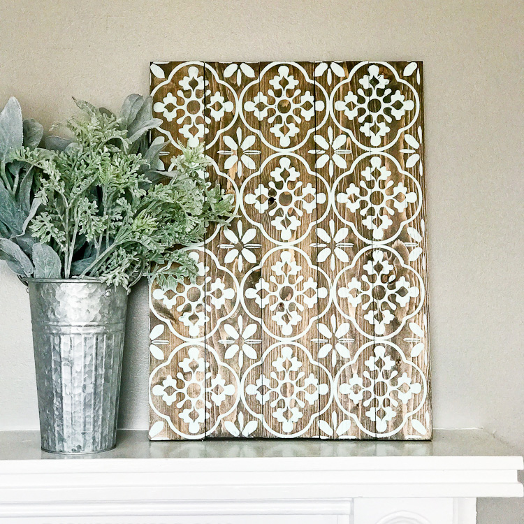 boho floral pattern plank sign 17.5x24