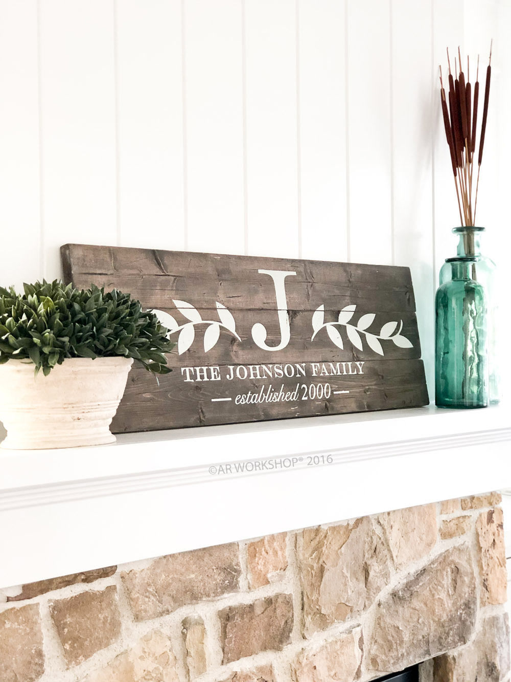 Laurel Branch Monogram Plank Sign - 10.5x32