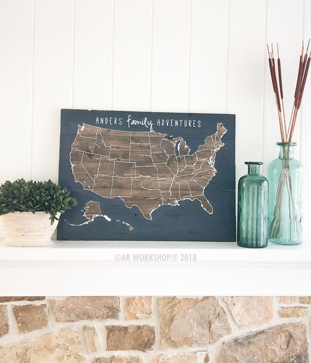 us map family adventures plank wood sign 17.5x24