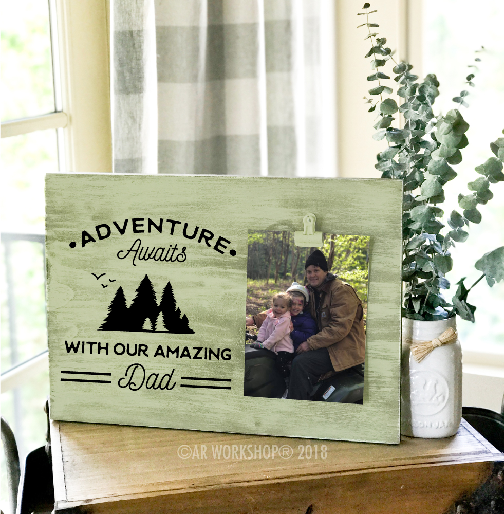 adventure awaits with our amazing dad wood photo frame