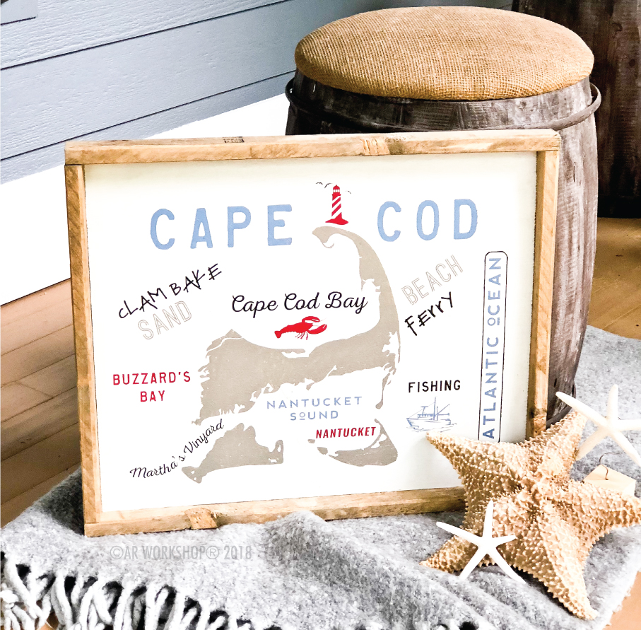 Cape Cod Visitor Map framed sign 18x21