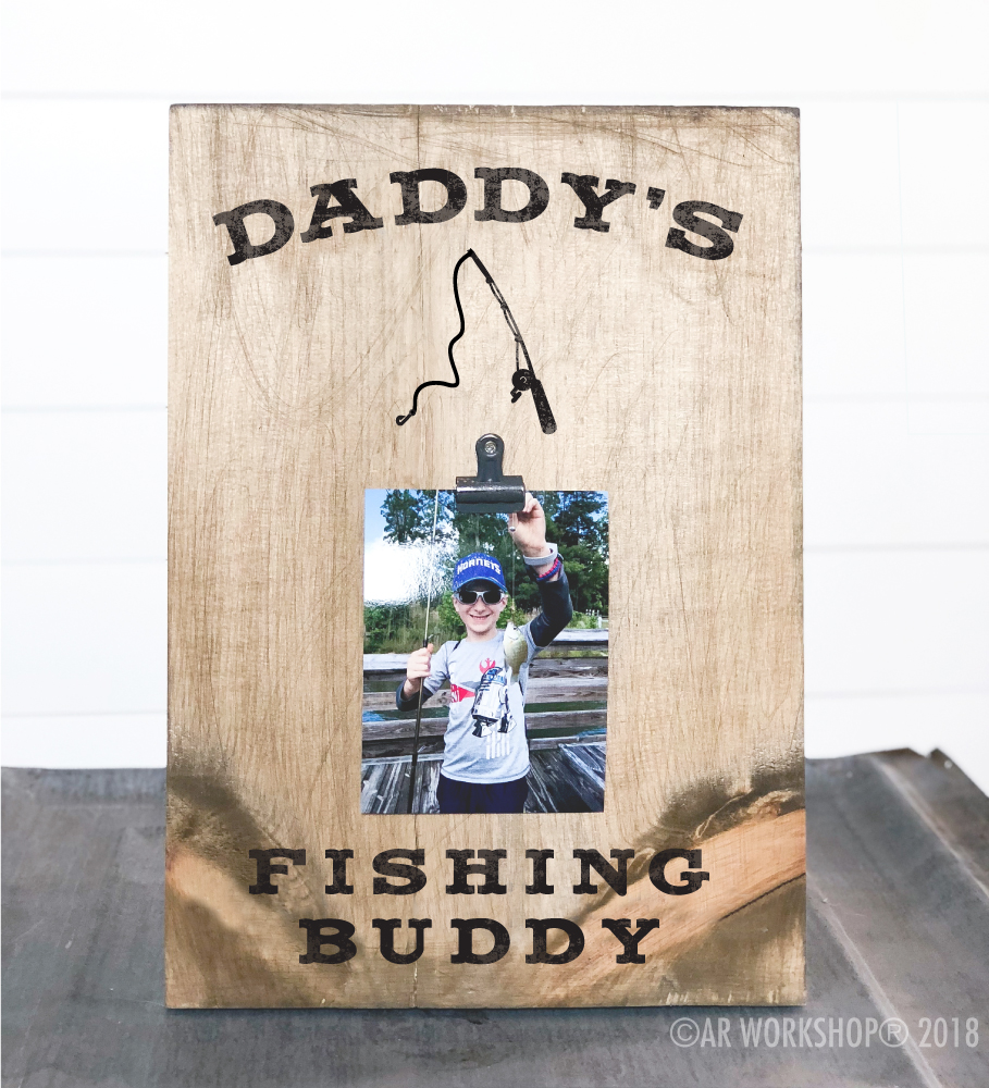 daddys fishing buddy wood photo frame