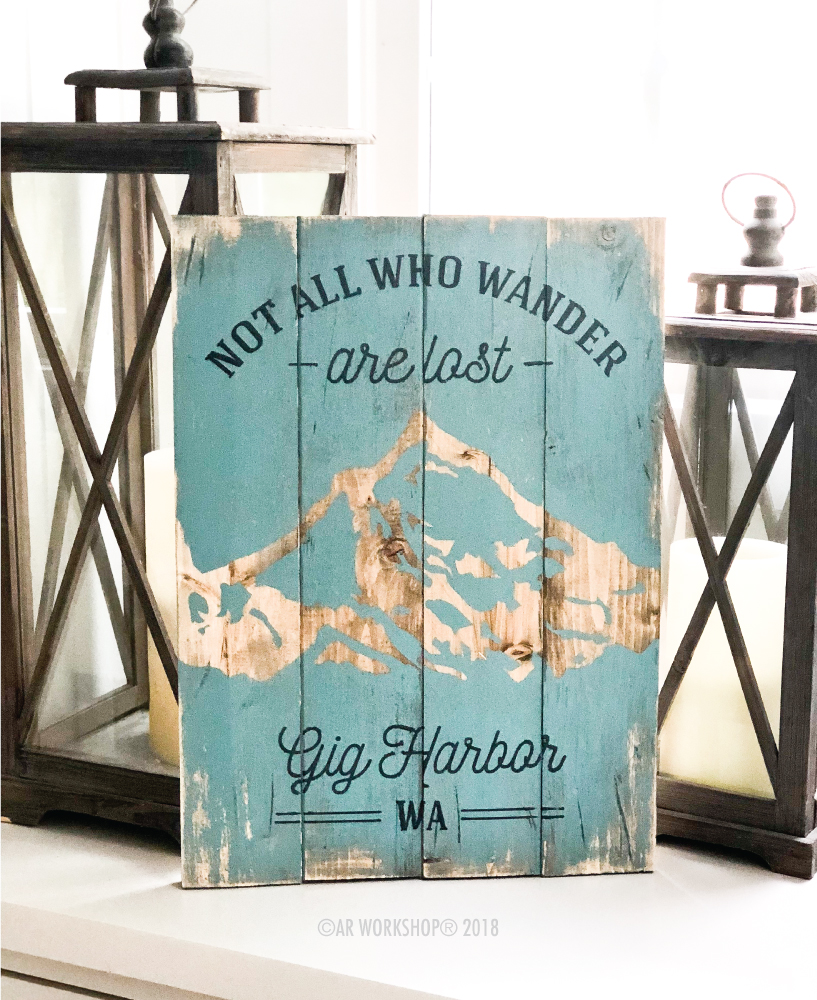 Not all who wander are lost plank sign 14x19