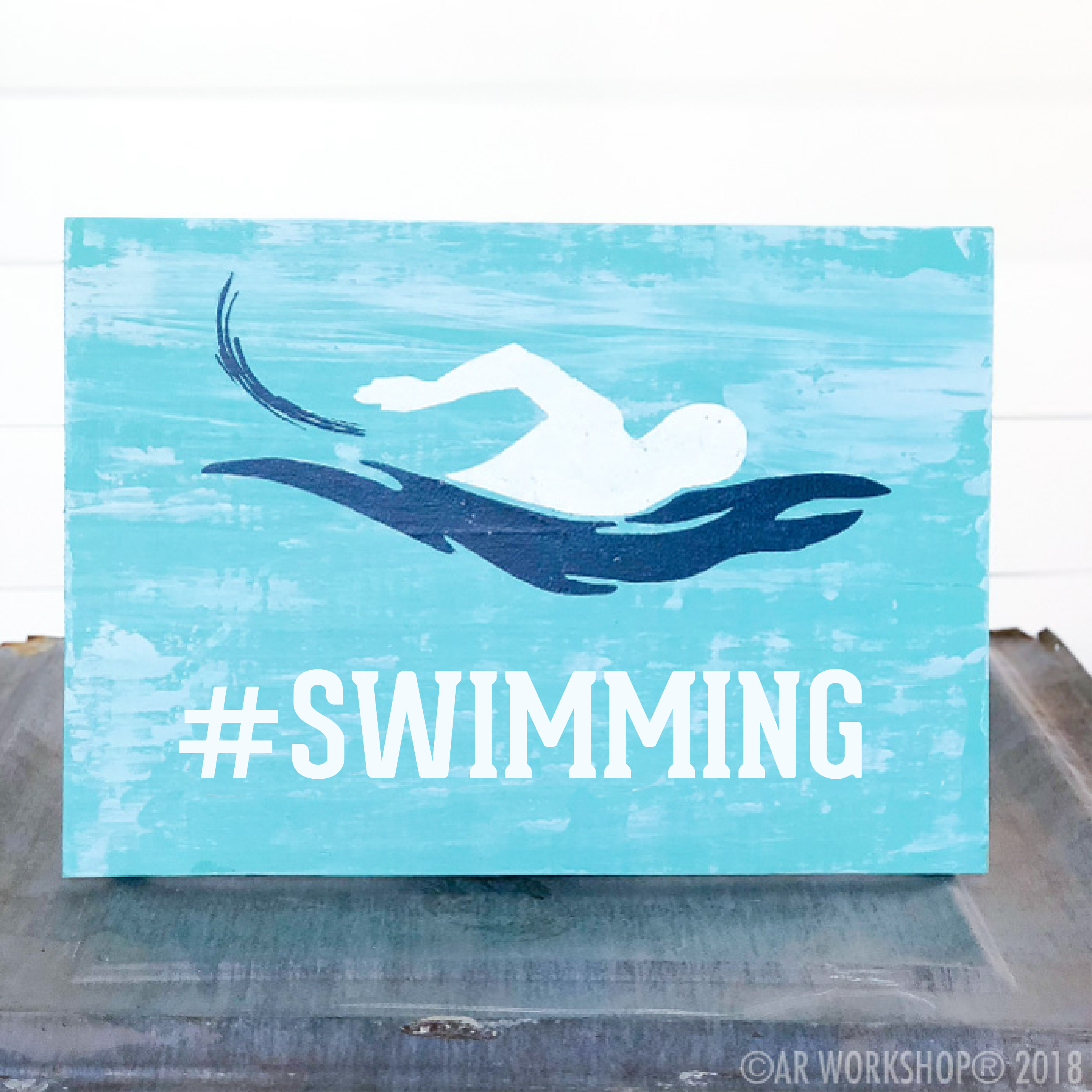 swimming youth plank sign 12x16