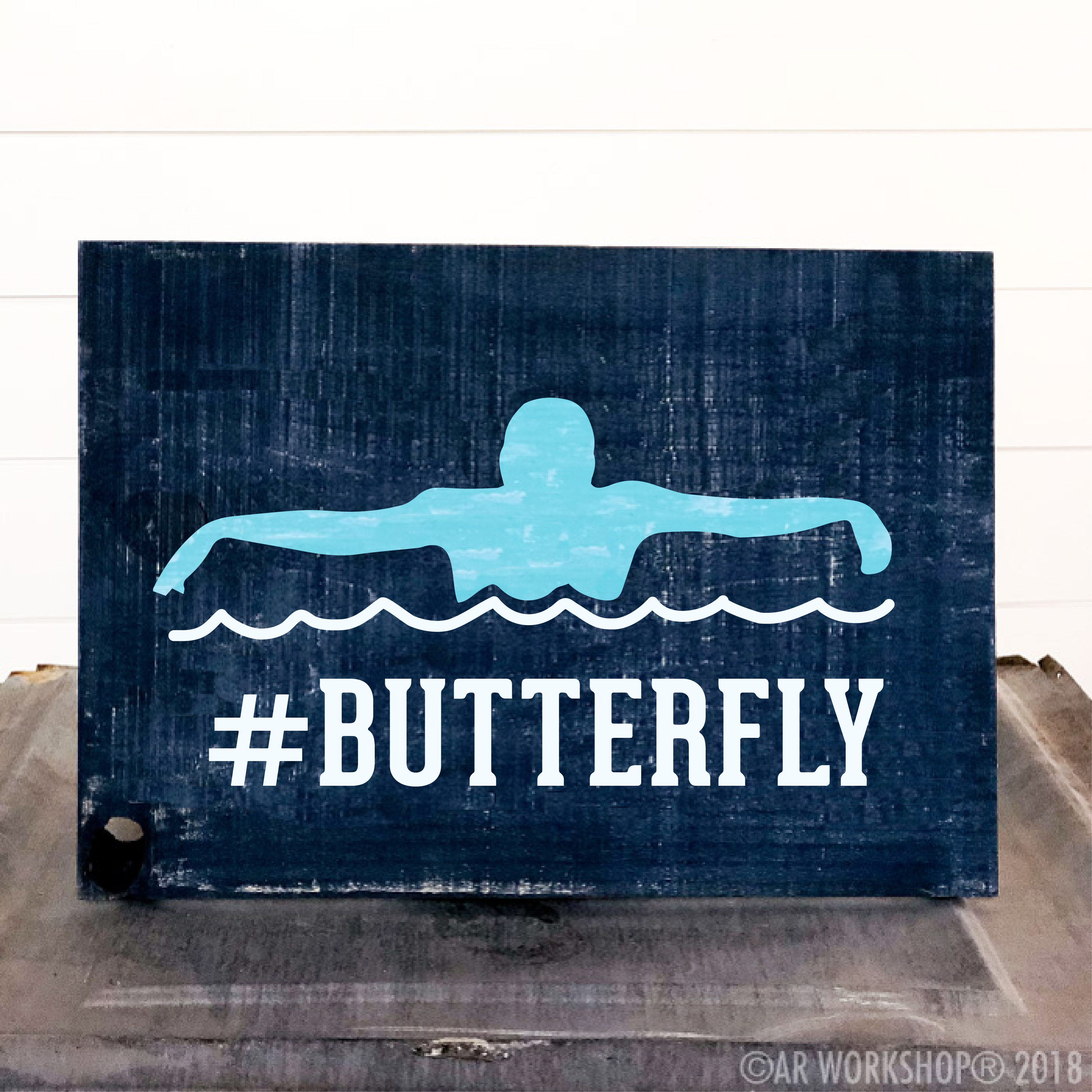 butterfly swimming youth plank sign 12x16
