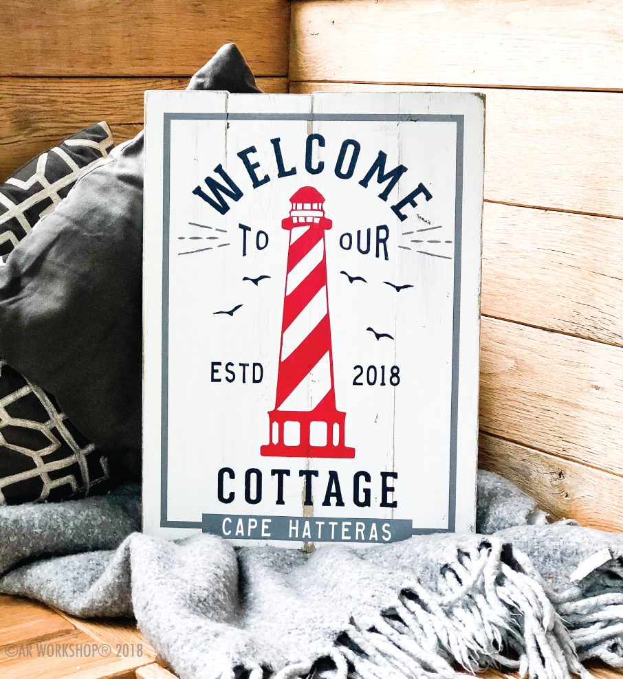 Welcome to our Cottage Lighthouse plank sign 14x19