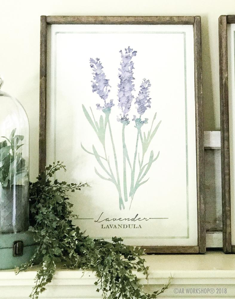 botanical lavender framed sign 18x26