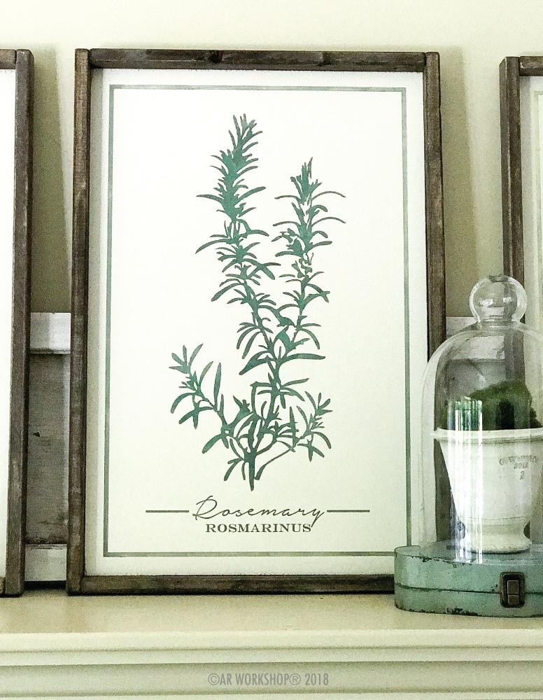 botanical rosemary framed sign 18x26