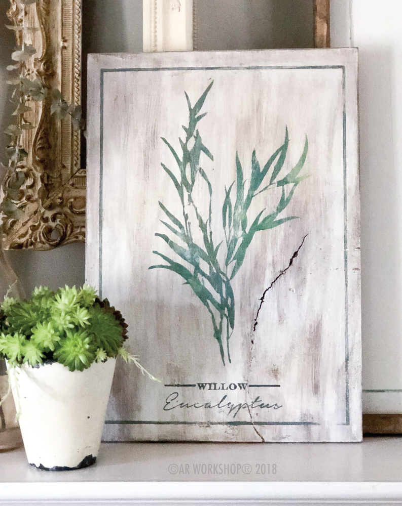 botanical willow eucalyptus plank sign 12x16