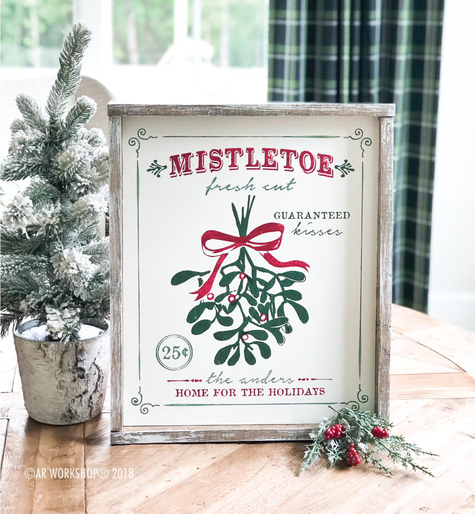 fresh cut mistletoe framed sign 18x21