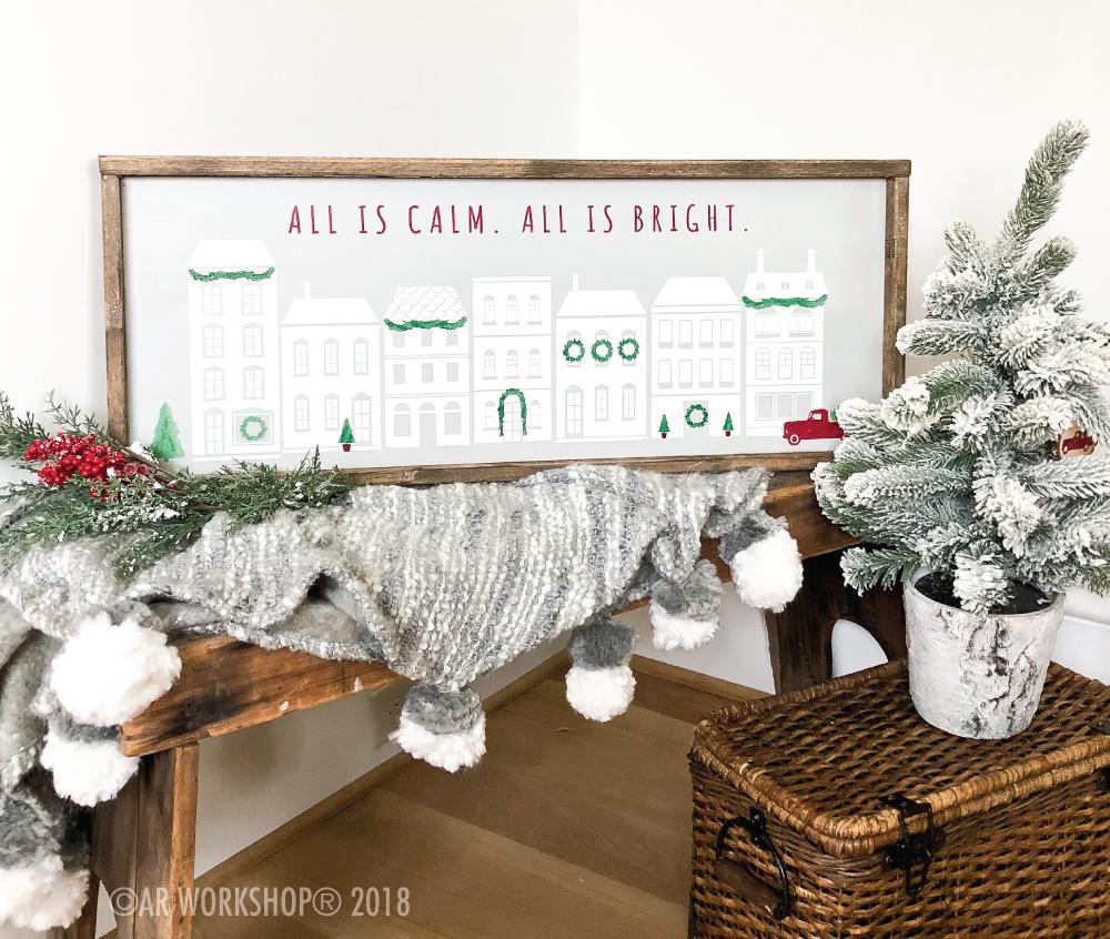 holiday village framed sign 14x34