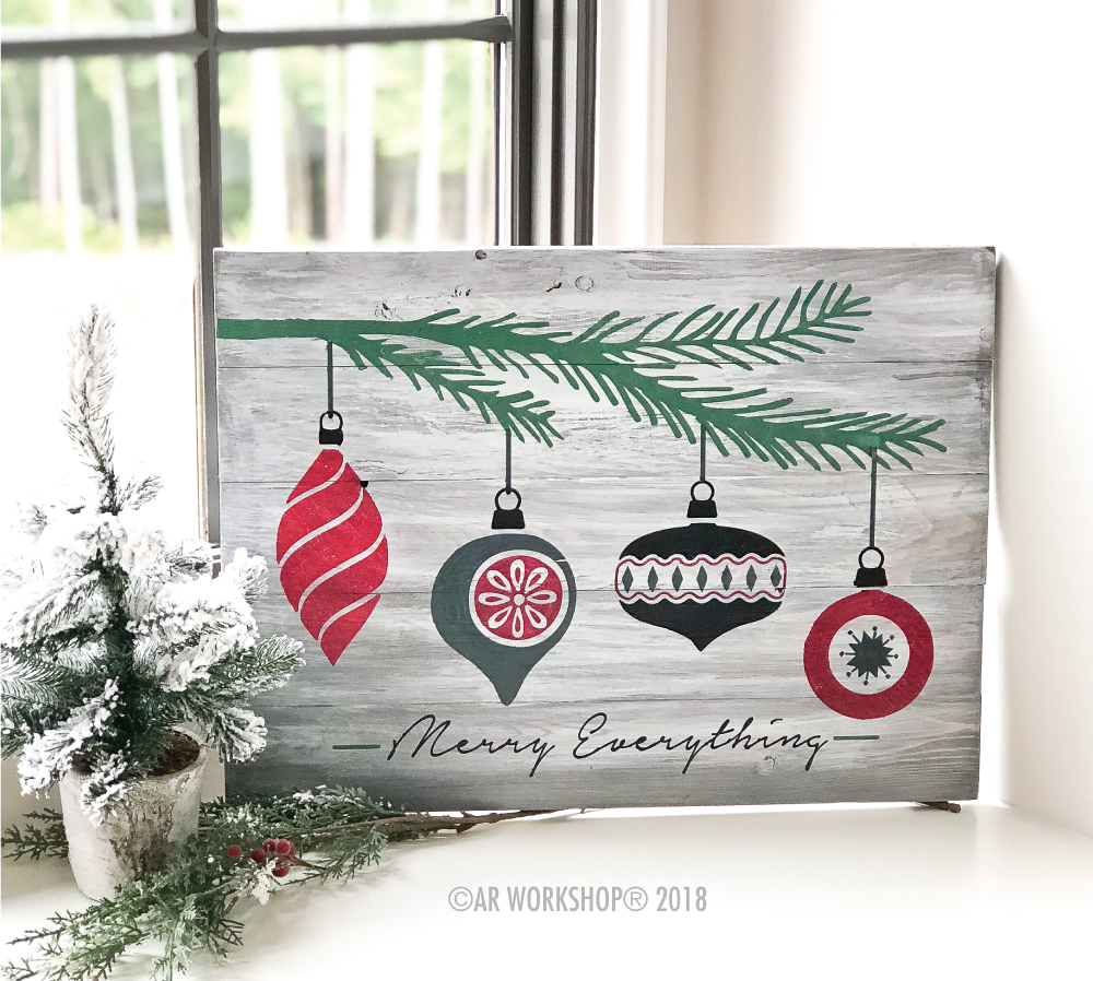 merry everything ornaments plank sign 17.5x24