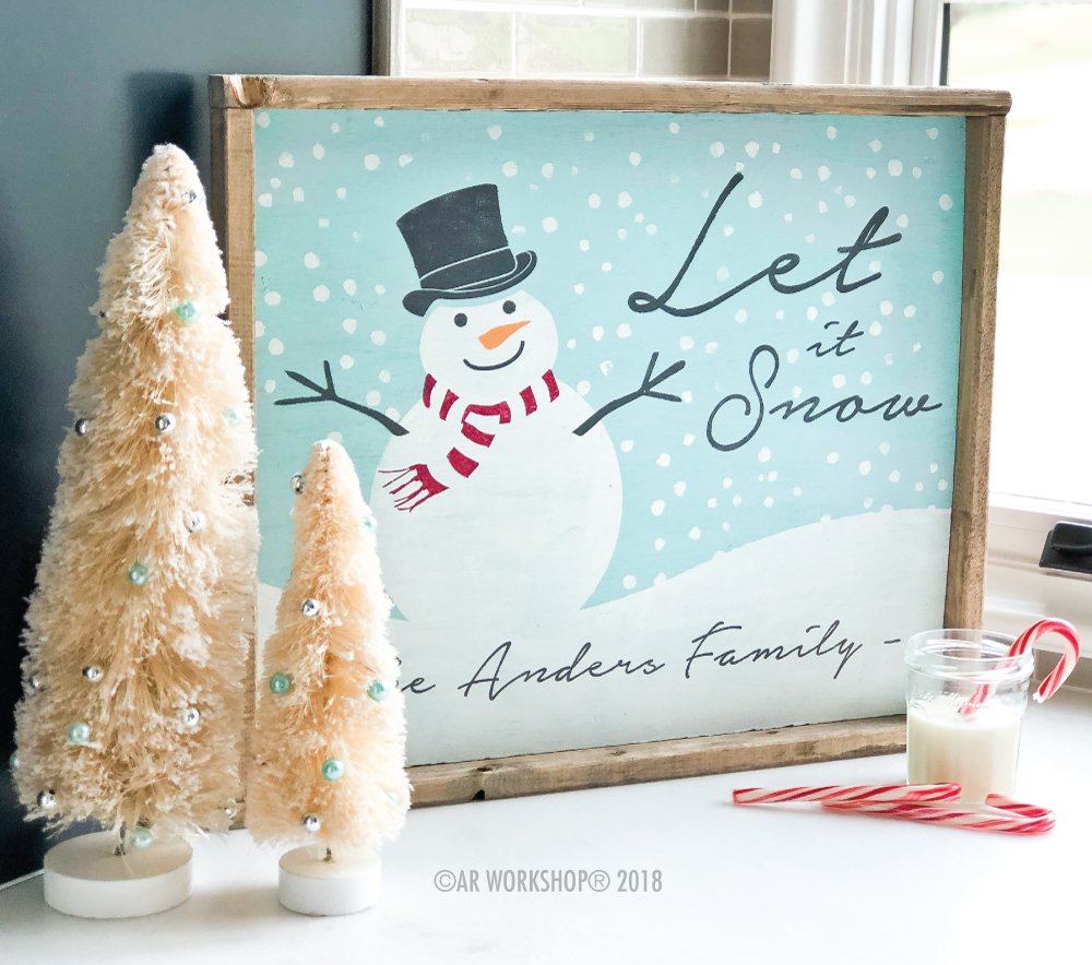 snowman let it snow framed sign 18x21
