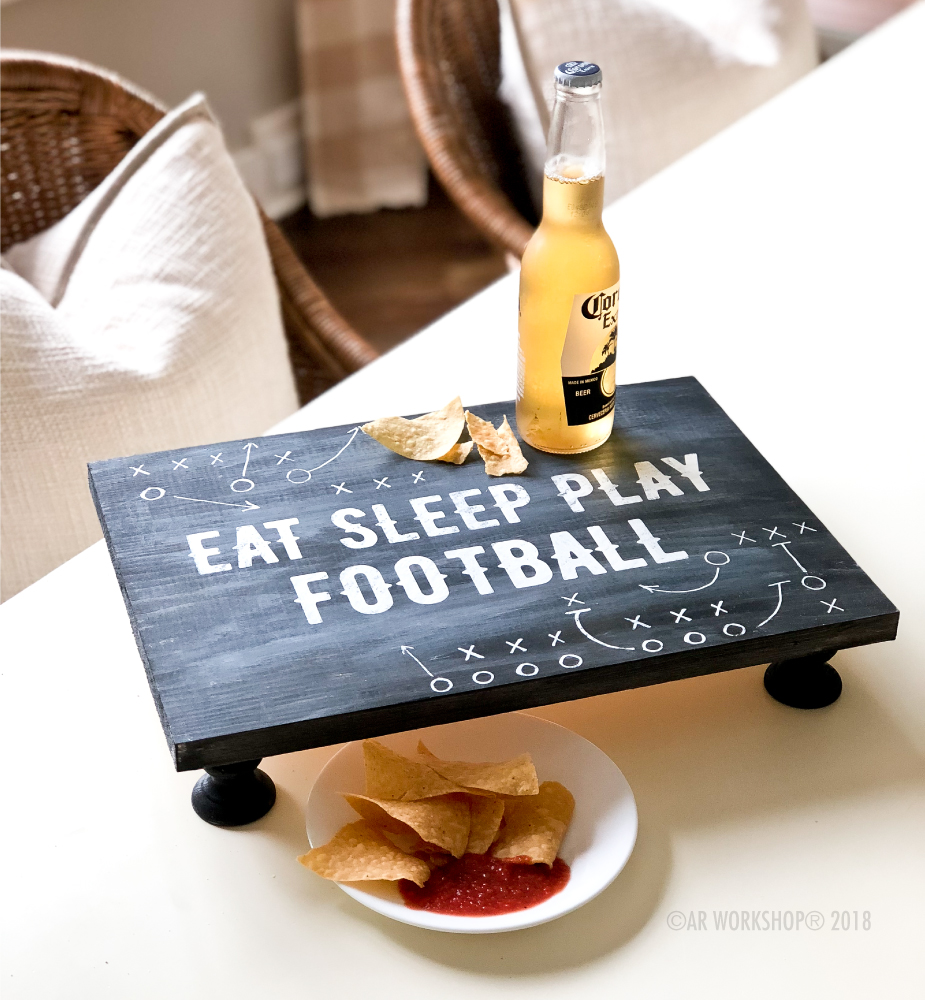 eat sleep play football pedestal tray 12x16