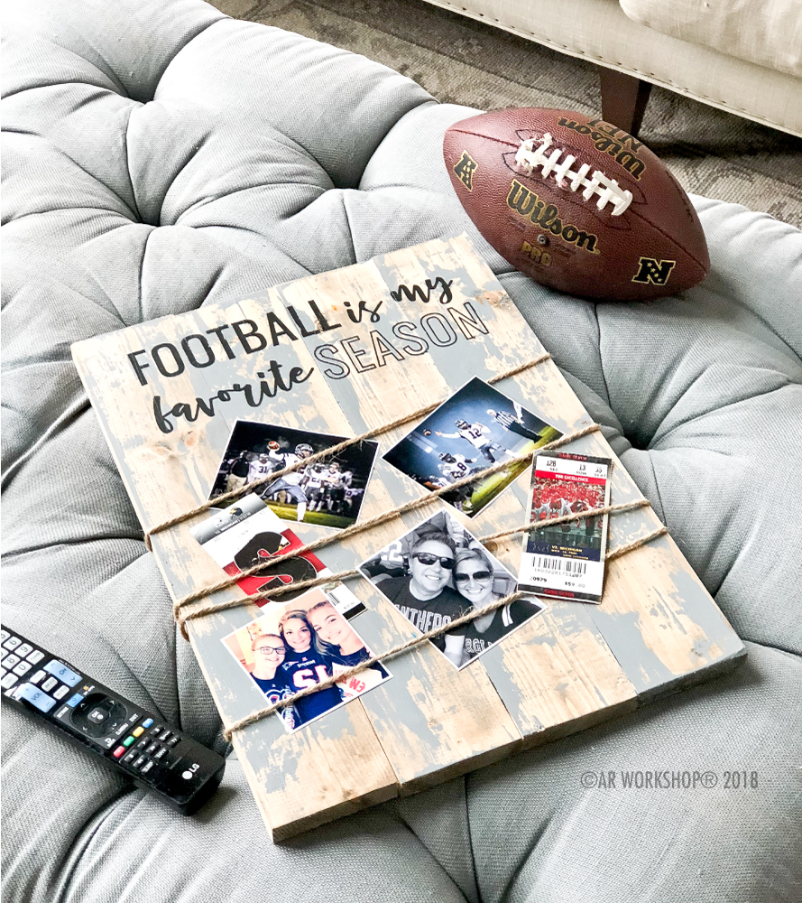 football favorite season photo board plank 14x19
