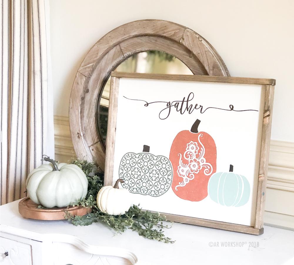 Gather Boho Patterned Pumpkins framed sign 18x21