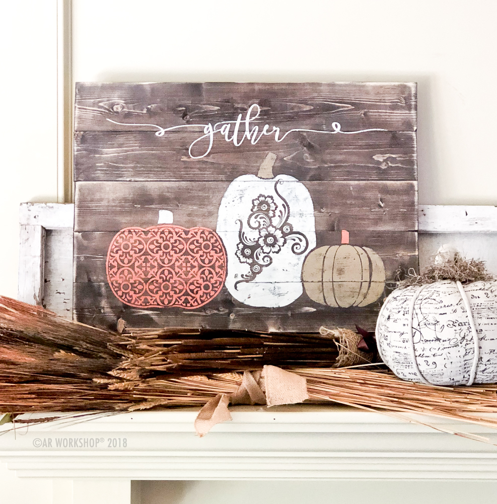 Gather Boho Patterned Pumpkins plank sign 17.5x24