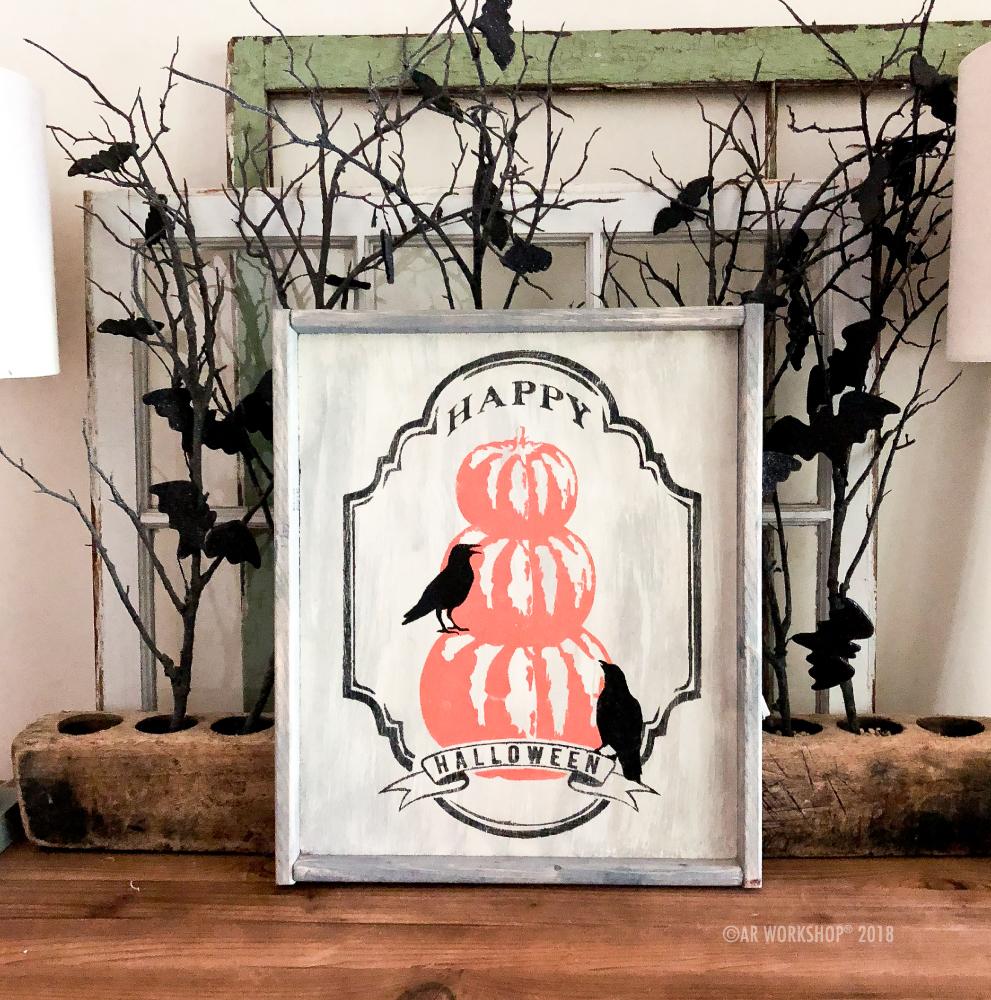 Halloween Pumpkins Crows framed sign 18x21