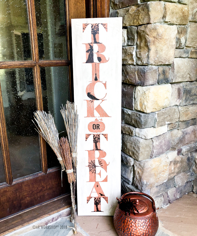 Halloween Tricks porch sign 12x48