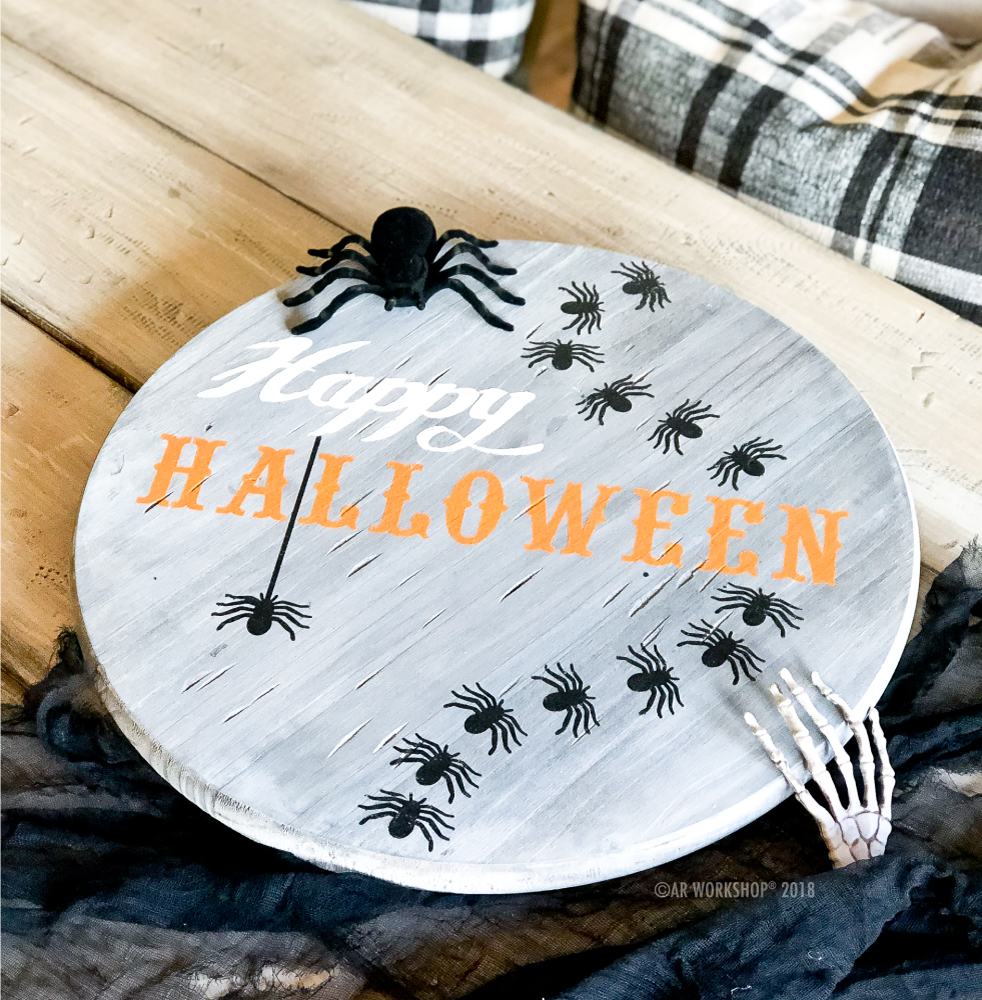Happy Halloween Spiders lazy susan