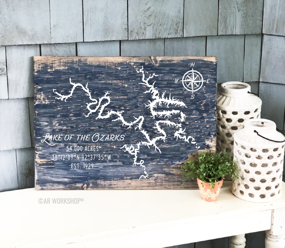 lake geography plank sign 17.5x24