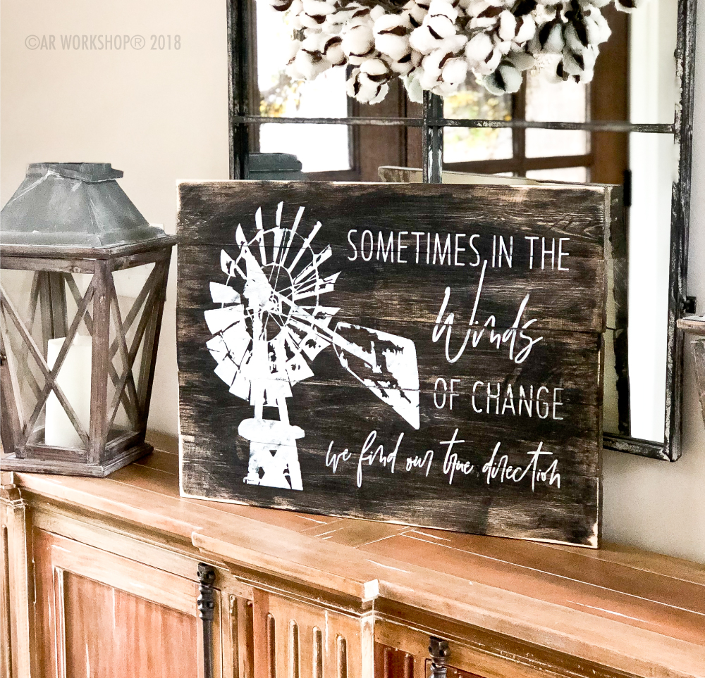 winds of change windmill plank sign 17.5x24