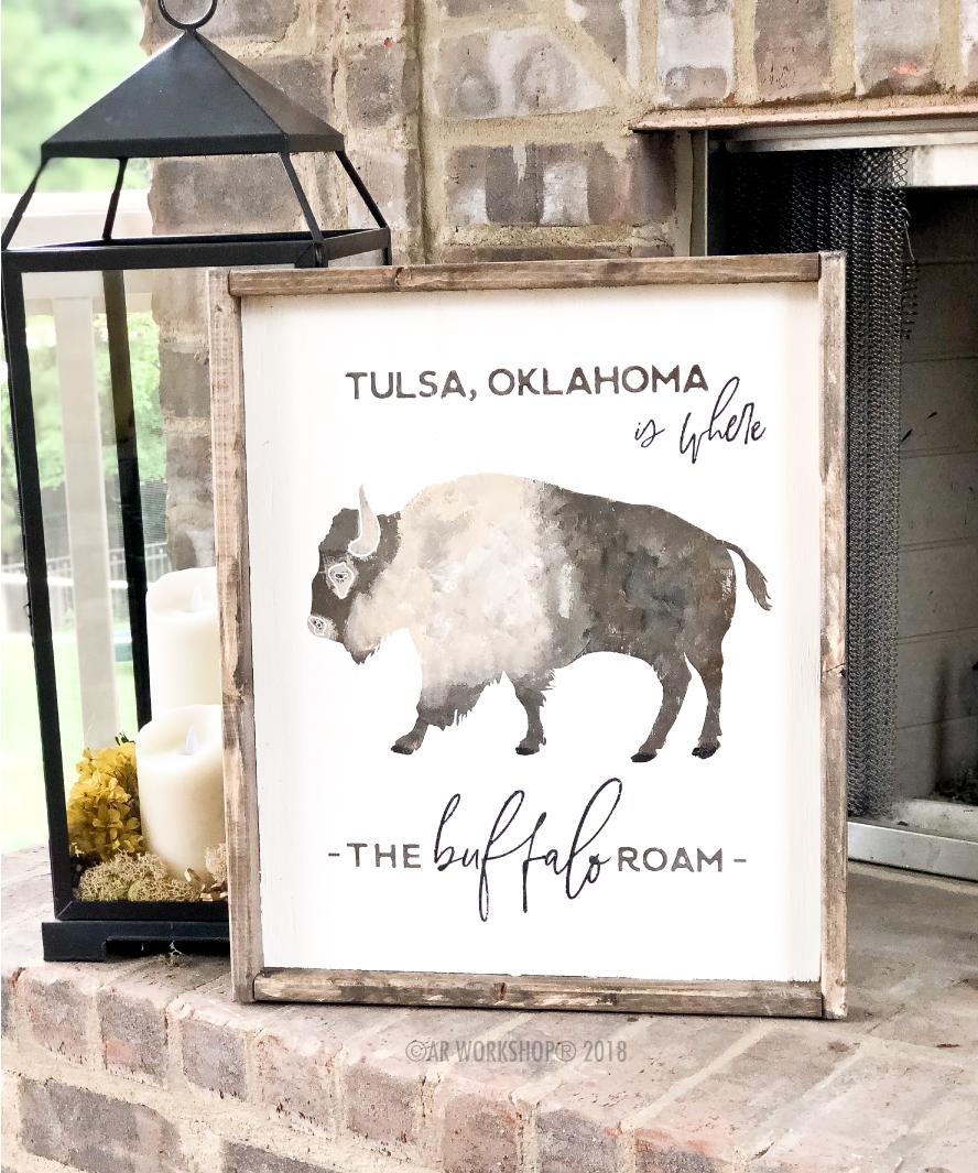 where the buffalo roam framed sign 18x21