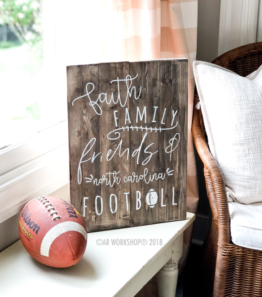 faith family friends football plank sign 14x19
