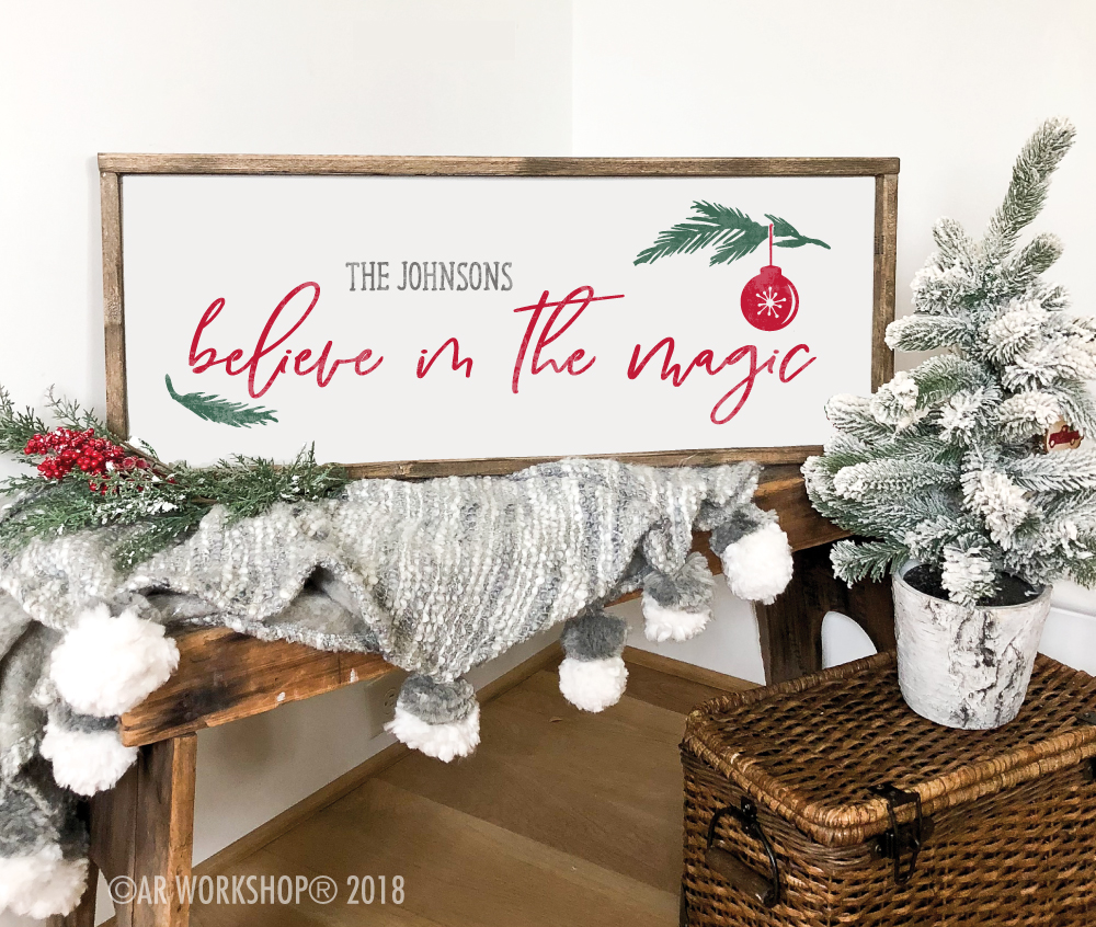 Believe in the Magic Name framed sign 14x34
