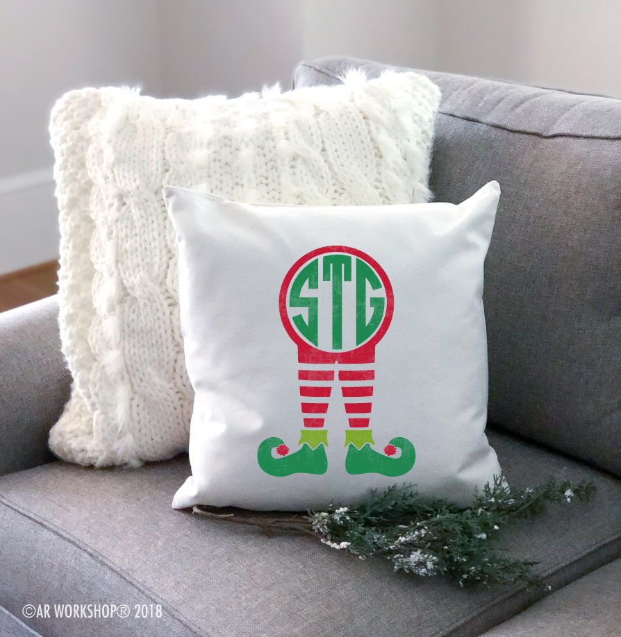 elf monogram youth pillow