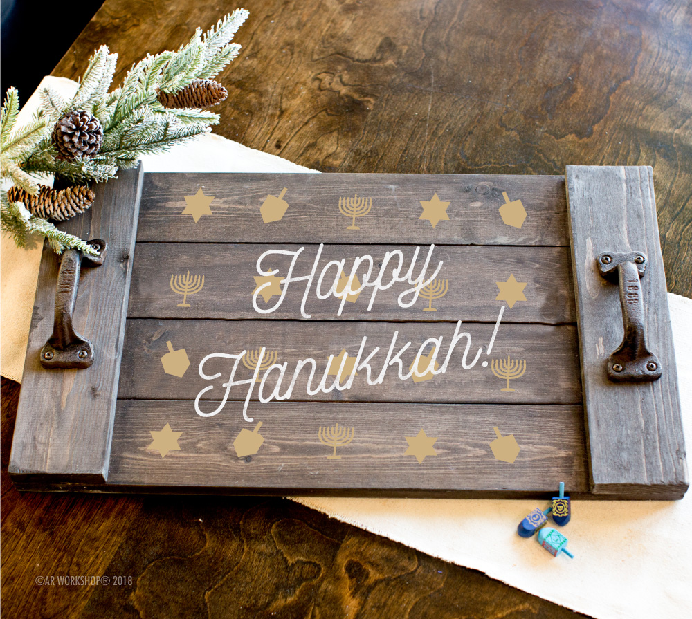 Happy Hanukkah Pattern plank tray 14x24
