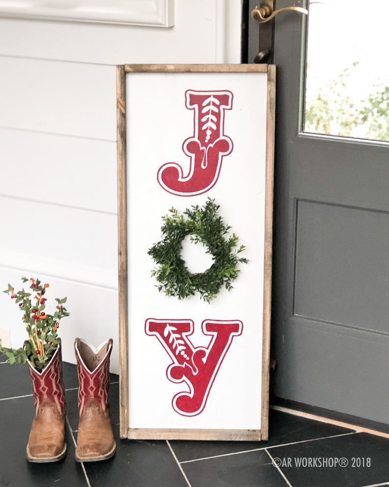 holiday joy framed sign 14x34 (wreath sold separately)