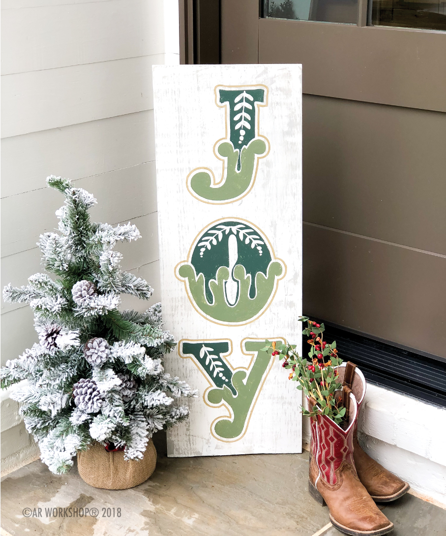 holiday joy plank sign 12x32