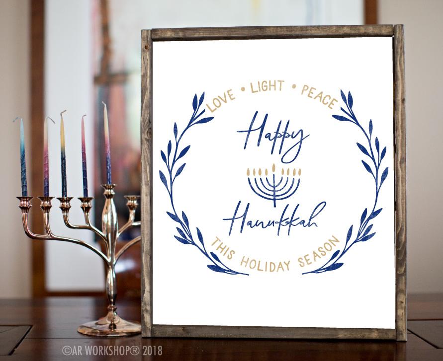 Love Light Peach Happy Hanukkah framed sign 18x21