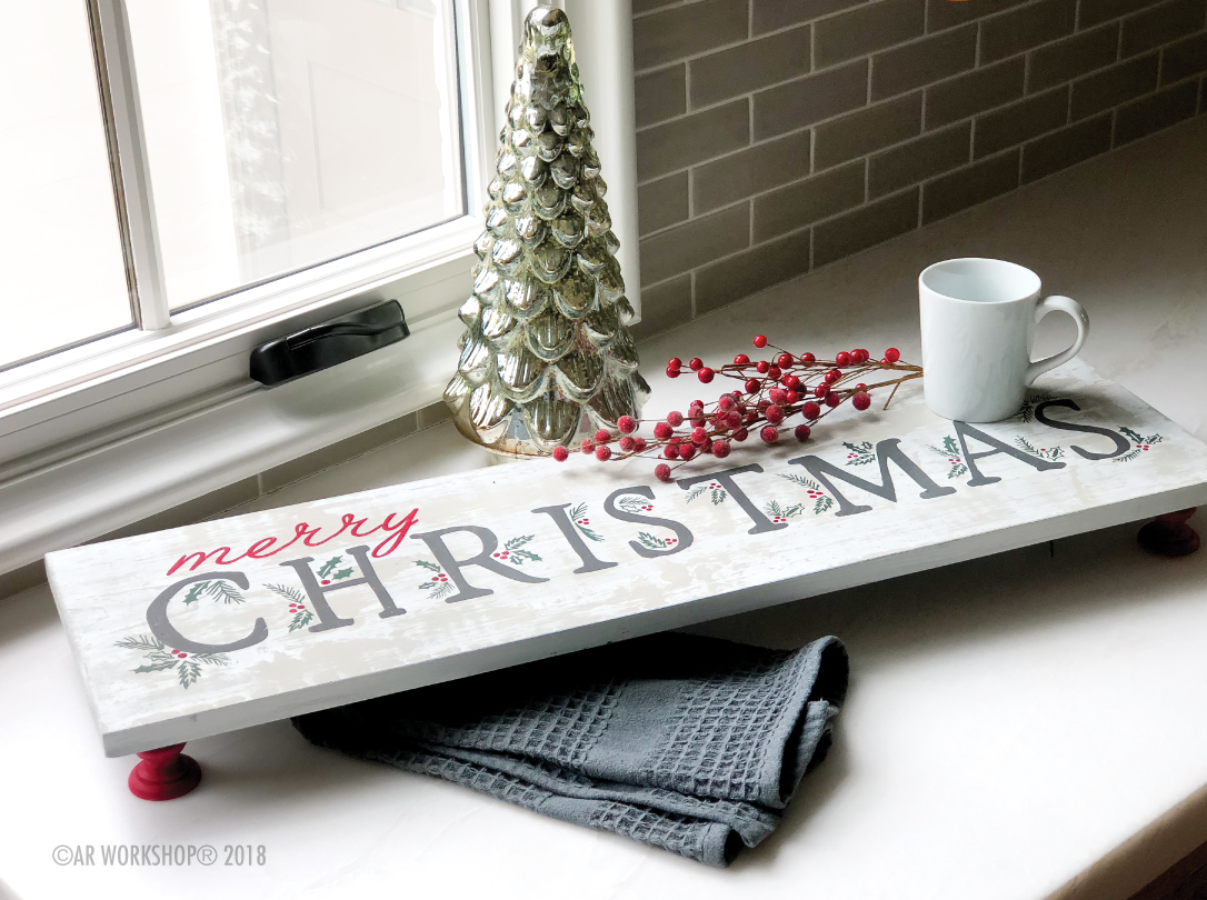 merry christmas berries and branches pedestal tray 10x32
