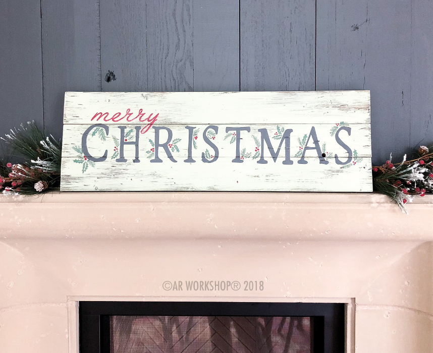merry christmas berries and branches plank sign 10.5x32